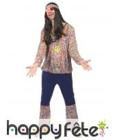 Tenue hippie bleue et motifs années 60 pour homme