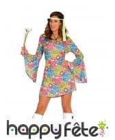 Tenue hippie courte motifs psychédélique femme