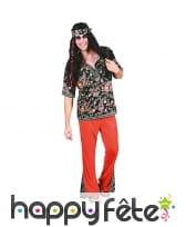 Tenue hippie rouge avec haut fleuri pour homme