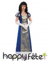 Tenue impératrice bleu royal brocards dorés femme