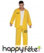 Tenue jaune de prisonnier pour adulte