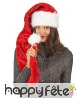 Très long bonnet de Noël rouge effet velours, image 2