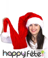 Très long bonnet de Noël rouge effet velours, image 3