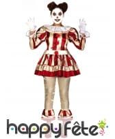 Tenue lignée clown ensanglanté vintage pour femme