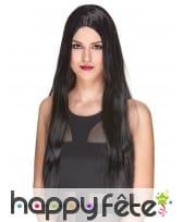Très longue perruque noire lisse, luxe
