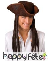 Tricorne marron avec longs cheveux de pirate