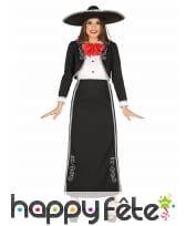 Tenue mexicaine d'apparat noire et rouge femme