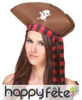 Tricorne marron de pirate avec bandeau noir rouge, image 1