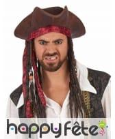 Tricorne marron de pirate avec cheveux, image 1