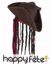 Tricorne marron de pirate avec cheveux
