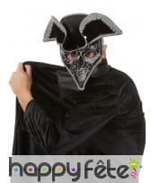Tricorne masque dr peste noir liserts argentés