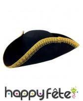Tricorne noir avec liseret doré pour adulte
