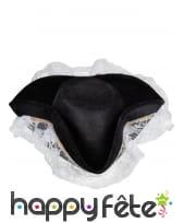 Tricorne noir bordé de dentelle blanche, image 2
