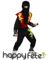 Tenue noire de ninja pour enfant imprimé dragon
