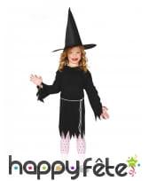 Tenue noire de sorcière pour enfant, avec chapeau
