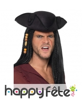 Tricorne noir de pirate avec couture