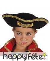 Tricorne noir liseret doré pour enfant
