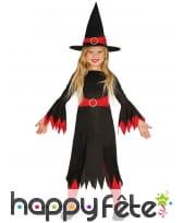 Tenue noire rouge de petite sorcière pour enfant
