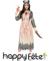 Tenue rétro d'infirmière zombie pour femme