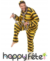 Tenue rayée jaune et noire de prisonnier, adulte, image 1