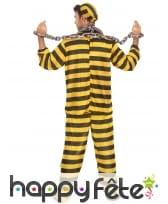 Tenue rayée jaune et noire de prisonnier, adulte, image 2