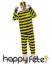 Tenue rayée jaune et noire de prisonnier, adulte, image 3