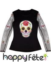 T-shirt Dia de los muertos manches transparentes, image 2