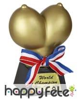 Trophée seins d'or avec noeud tricolore