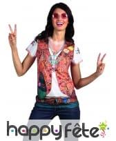T-Shirt gilet hippie imprimé pour femme