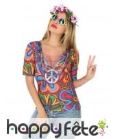 T-shirt haut de hippie pour femme adulte