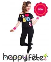T-shirt I love 80 s noir pour femme adulte