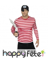 T-Shirt ligné rouge et blanc à longues manches, image 2