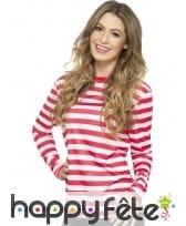 T-Shirt ligné rouge et blanc à longues manches, image 3