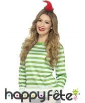 T-shirt longues manches ligné vert blanc unisexe, image 1