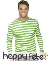 T-shirt longues manches ligné vert blanc unisexe, image 2