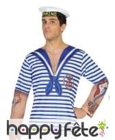 T-shirt marin ligné blanc et bleu pour homme