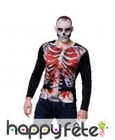 T-shirt photo réaliste de squelette ensanglanté