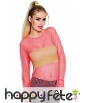 T-shirt résille rose fluo