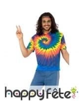 T-shirt Tie Dye pour homme, années 60