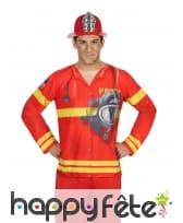 T-shirt uniforme de pompier pour adulte