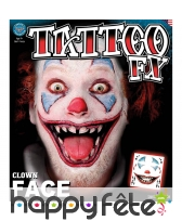 Tatouage visage de clown monstre