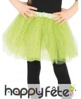 Tutu vert petite fille en tulle pailleté argenté