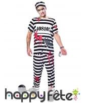 Uniforme rayé de zombie prisonnier pour adulte