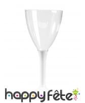 Verres à vin pied blanc en plastique