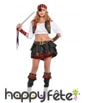 Veste, bandeau et manchettes de femme pirate