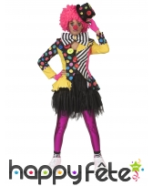 Veste de clown avec gros noeud multicolore, femme