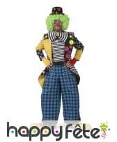 Veste de clown avec gros noeud multicolore, homme