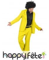 Veste et pantalon disco jaune pour homme