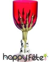 Verre halloween gothique rouge avec pied squelette