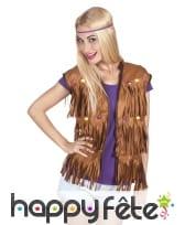Veste marron avec franges style hippie